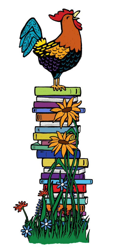 A rooster crowing on top of a stack of books and sunflowers.