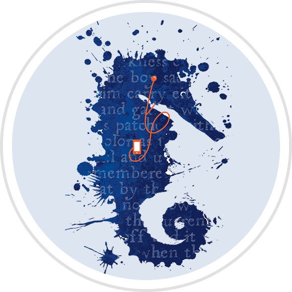 Beanstack badge illustraion: an ink-spattered seahorse listening to an audiobook