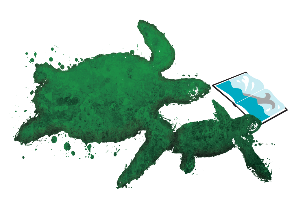 Illustration of a large and small sea turtle reading a book together.